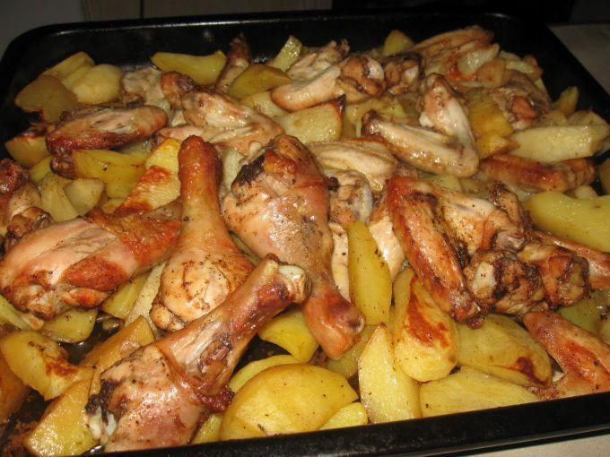 Курица картошка кабачок в духовке рецепт с пошагово